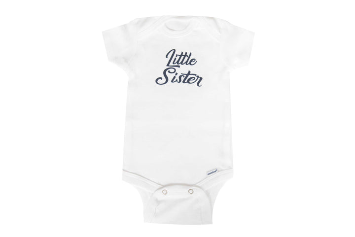 Little Sister Baby Onesie (White/Navy)