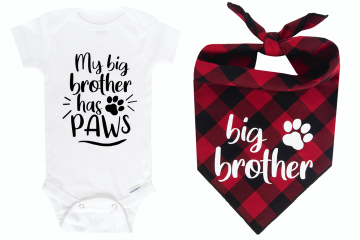 My Big Brother Has Paws Set - Red/Black