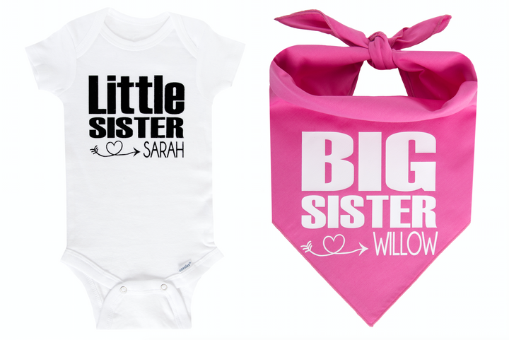 Big Sister/Little Sister Personalized Set - Pink