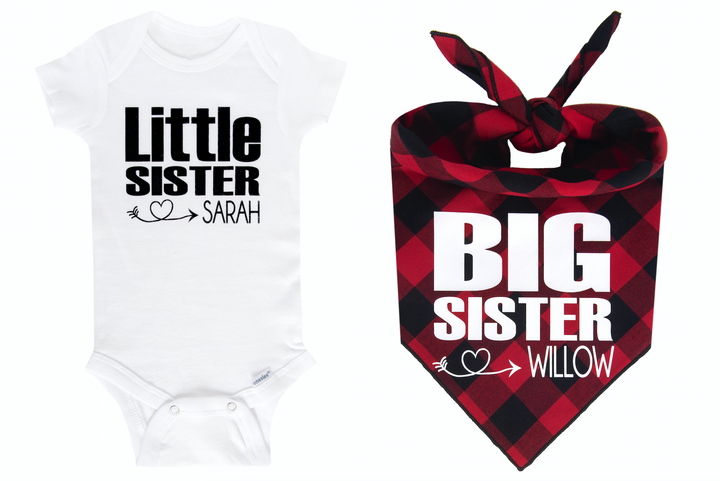 Big Sister/Little Sister Personalized Set - Red/Black