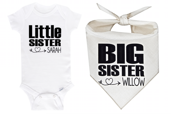 Big Sister/Little Sister Personalized Set - Ivory