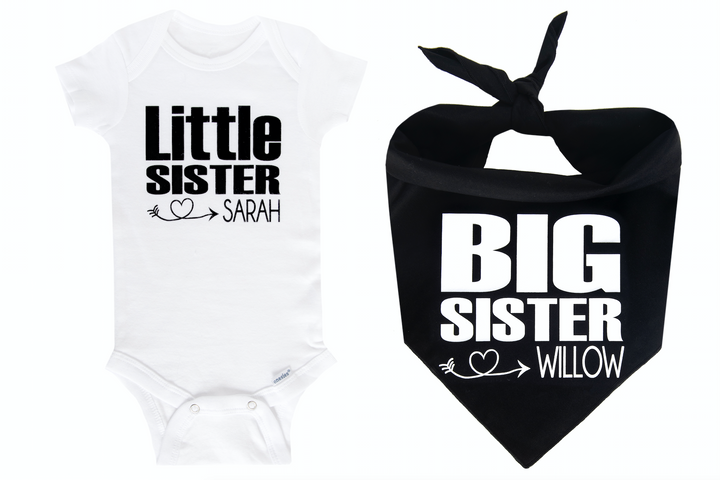 Big Sister/Little Sister Personalized Set - Black