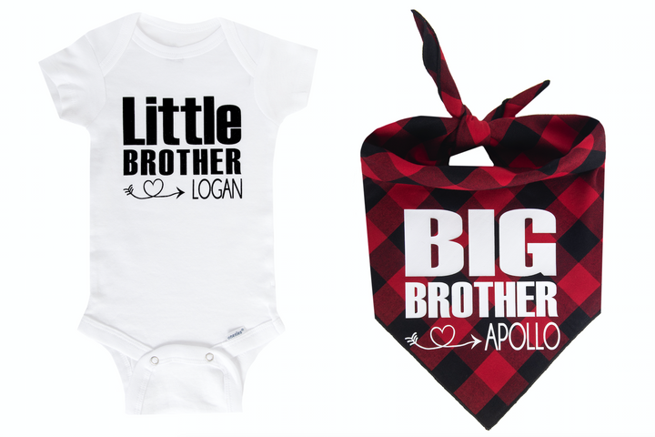 Big Brother/Little Brother Personalized Set - Red/Black