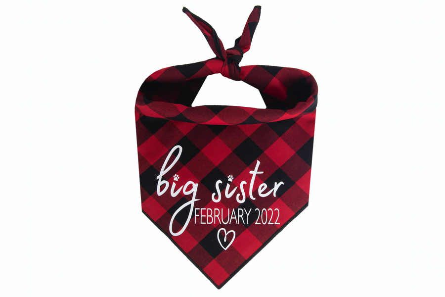 Big Sister with Due Date - Red/Black