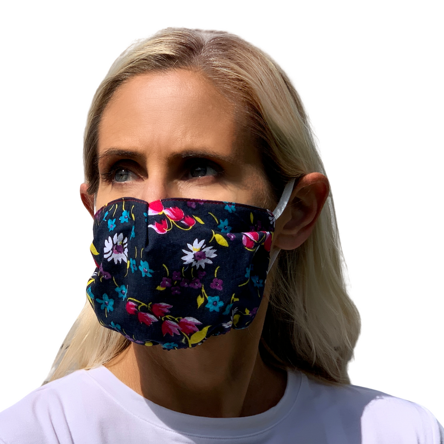 Navy Floral Face Mask