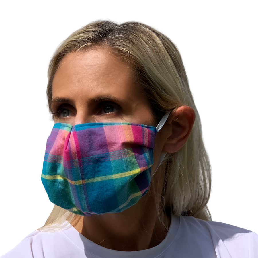 Turq Plaid Face Mask