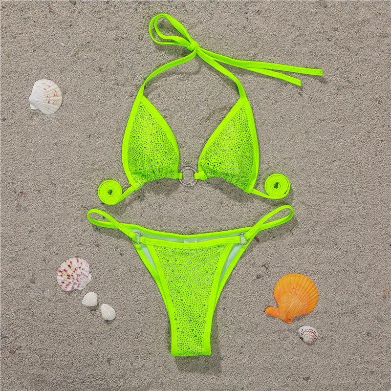 Neon Crystal Bikini With Rhinestone - 5 Colors