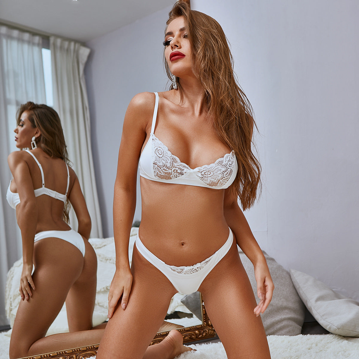 White Lingerie Bra Set Sexy Lace Patchwork Underwear Set Transparent Push up Bra and Thong Women Sexy Erotic Lingerie