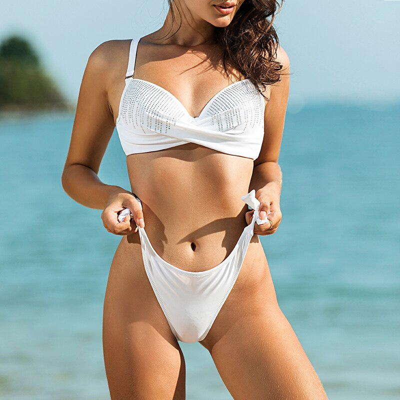 White Weekend Sparkle - Rhinestone Push Up Bikini