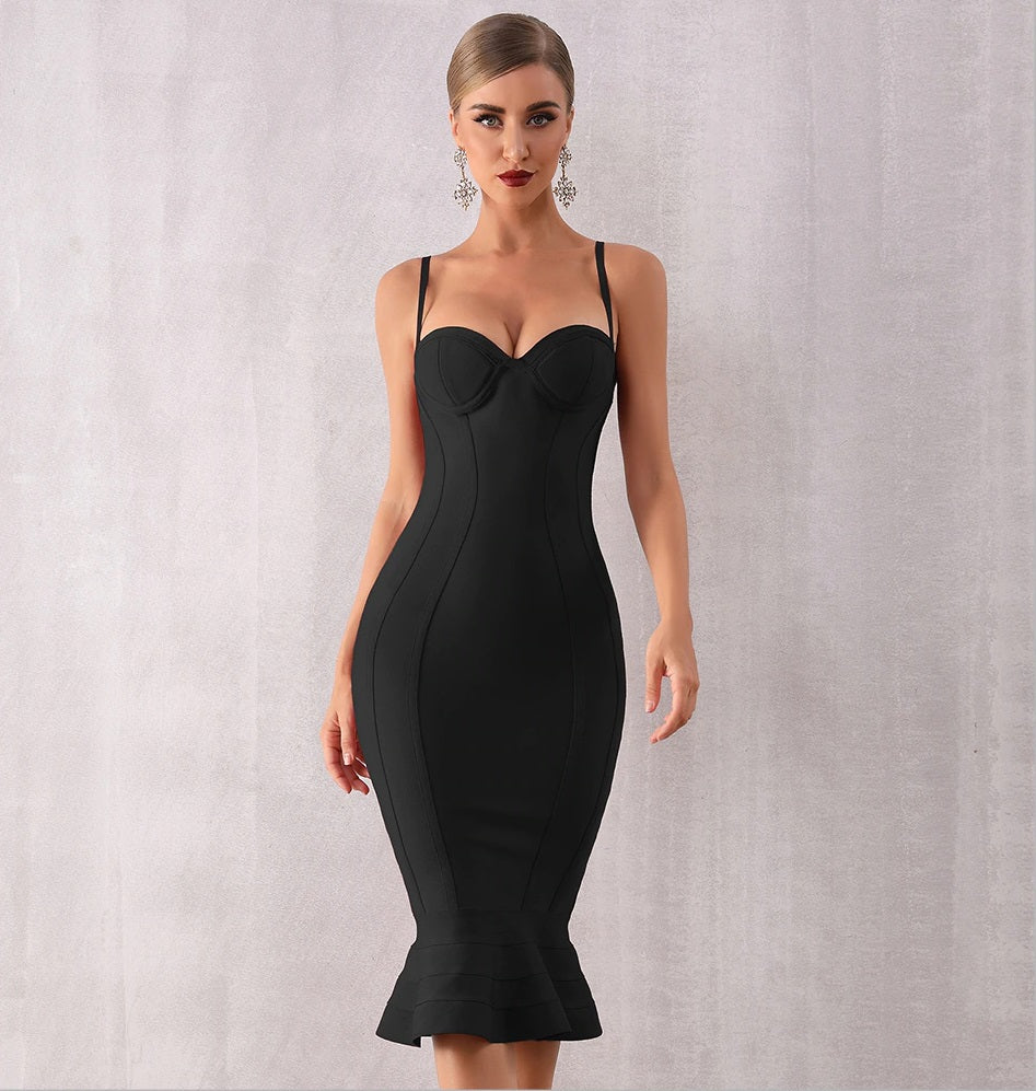 Granada Black Spaghetti Strap Evening Dress