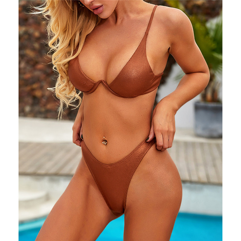 Leather V-bar Underwired Bikini
