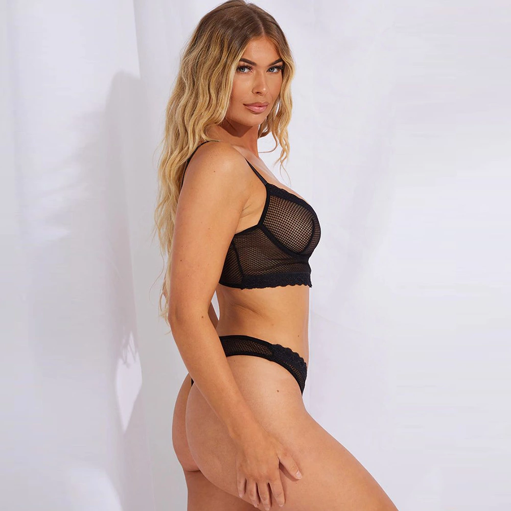 Black See Through Bra Set Lingerie Set Women Underwear Set Mesh Lenceria Sexy Underwear for Women Panties Bag Wholesale Lady