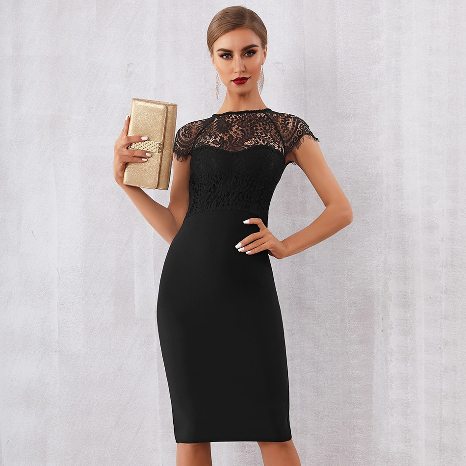 black Cuvati Elegant dresses, dresses near me, dresses with sleeves, cocktail dresses, formal dresses, prom dress, casual dresses, evening gowns, sundress, classy dresses to wear to a wedding, pageant gown, brand dresses, designer party dresses, Midi Club Dress Vestidos Celebrity Evening Party Dresses