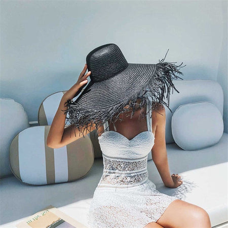 Black Oversized Beach Hat Brim 18-20cm