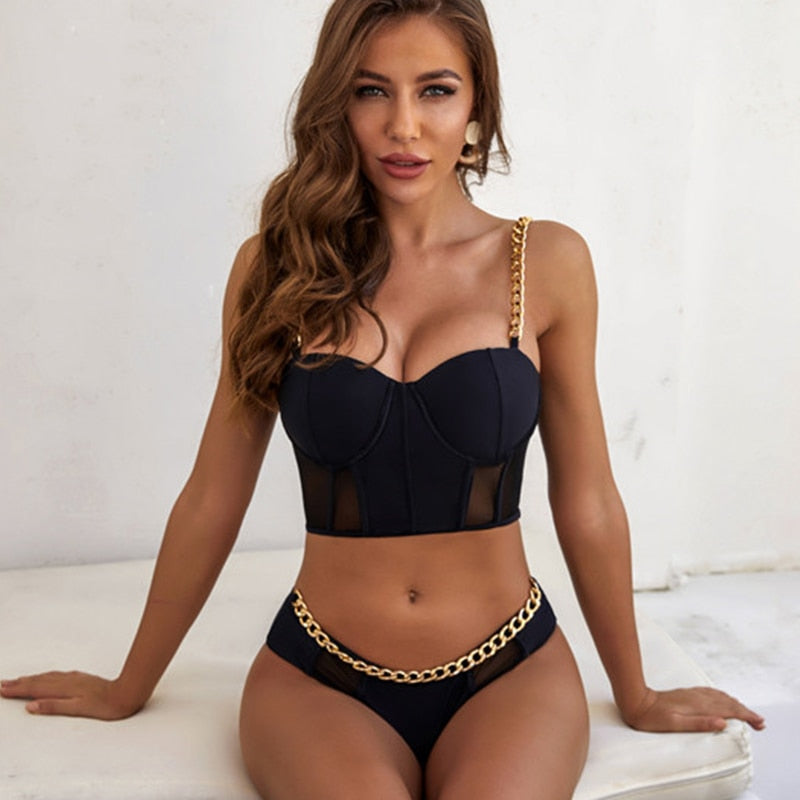 Black Chain Bikini set