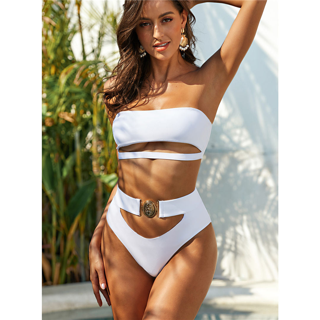 Bandeau Bikini High Waist Swimsuit