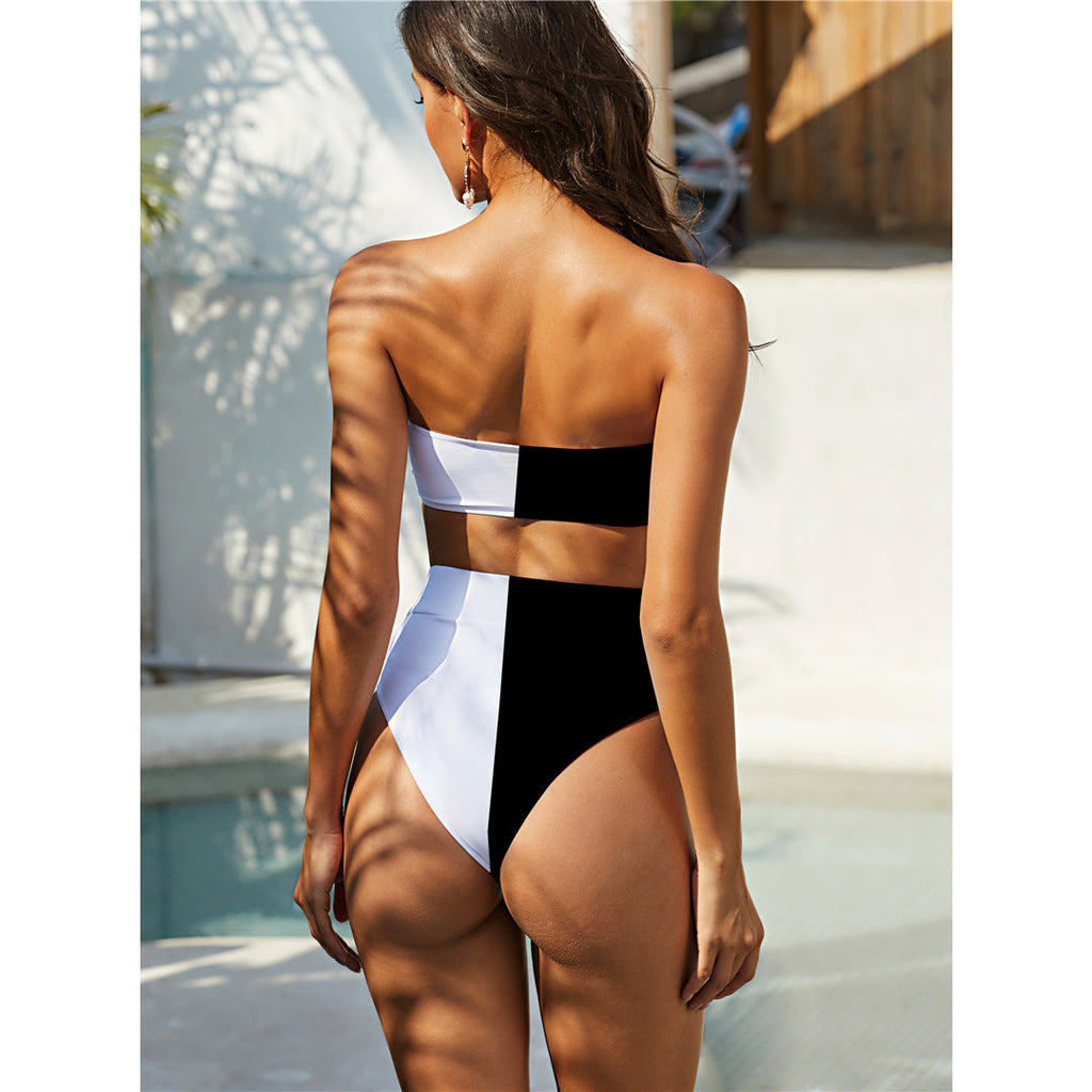 Black Bandeau Bikini High Waist Swimsuit