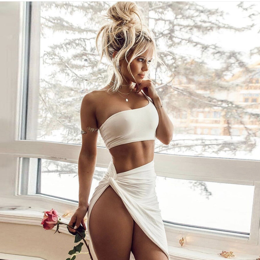 White Skirt and One Shoulder Crop Top - 2 Piece