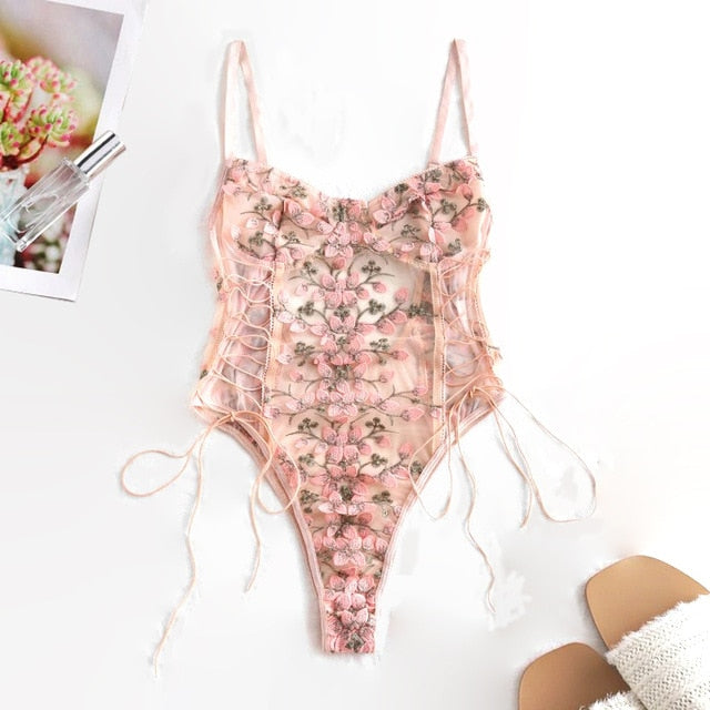Corset Lace Mesh Embroidered Bodysuit
