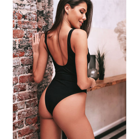 Classy Belt Black One Piece Swimsuit
