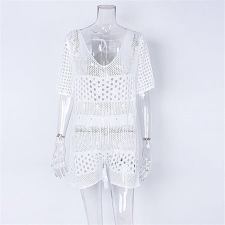 Hollow-Out Crochet Knitted Beach Cover Up