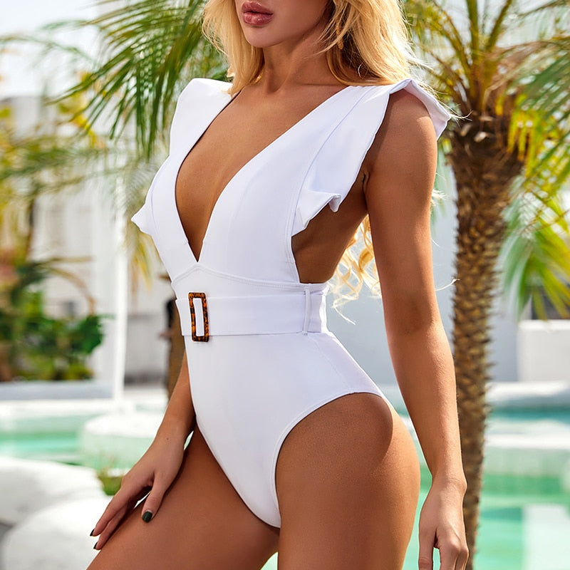Ruffle Ribbed Hottest One Piece Swimsuits, Designer Swimwear, Luxury Brazilian Bikinis, Neoprene triangl bikini, Push up bikini, high cut, lace one piece swimsuit, unique bikini, bodysuit swimwear Availability: InStock, Shipping: Free Shipping, Age: Ages 18-35 white