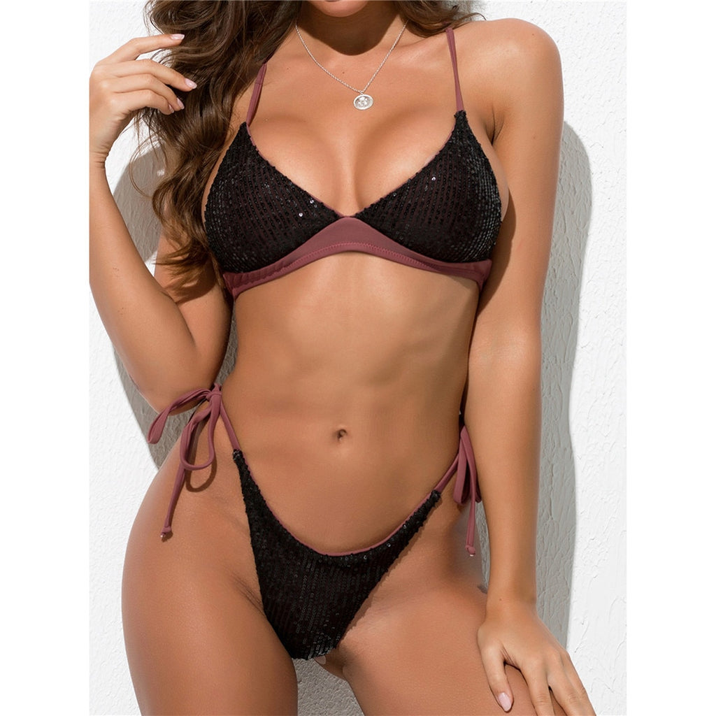 Black Brown Two-Tone Sequins Bikini