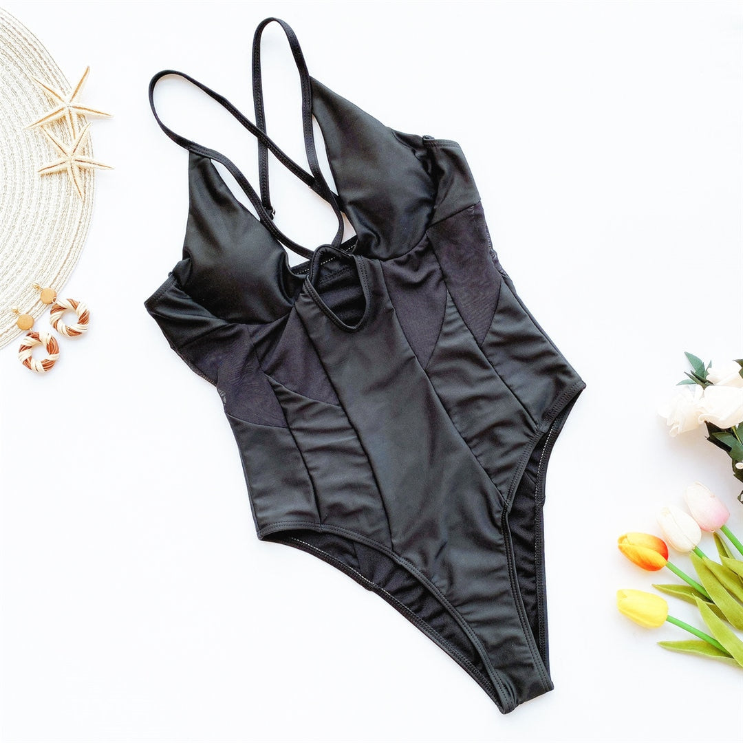 Mesh Hallow Out High Cut Swimsuit