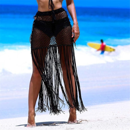 Knitted Tassel Bikini Bottom Beach Cover Up
