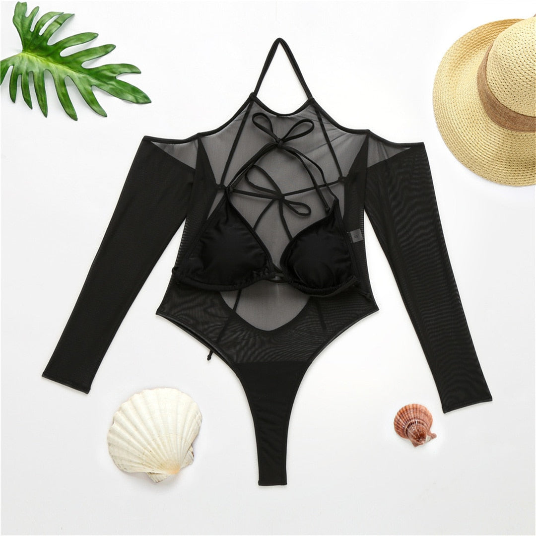 Mesh Long Sleeve High Waist Swimsuit
