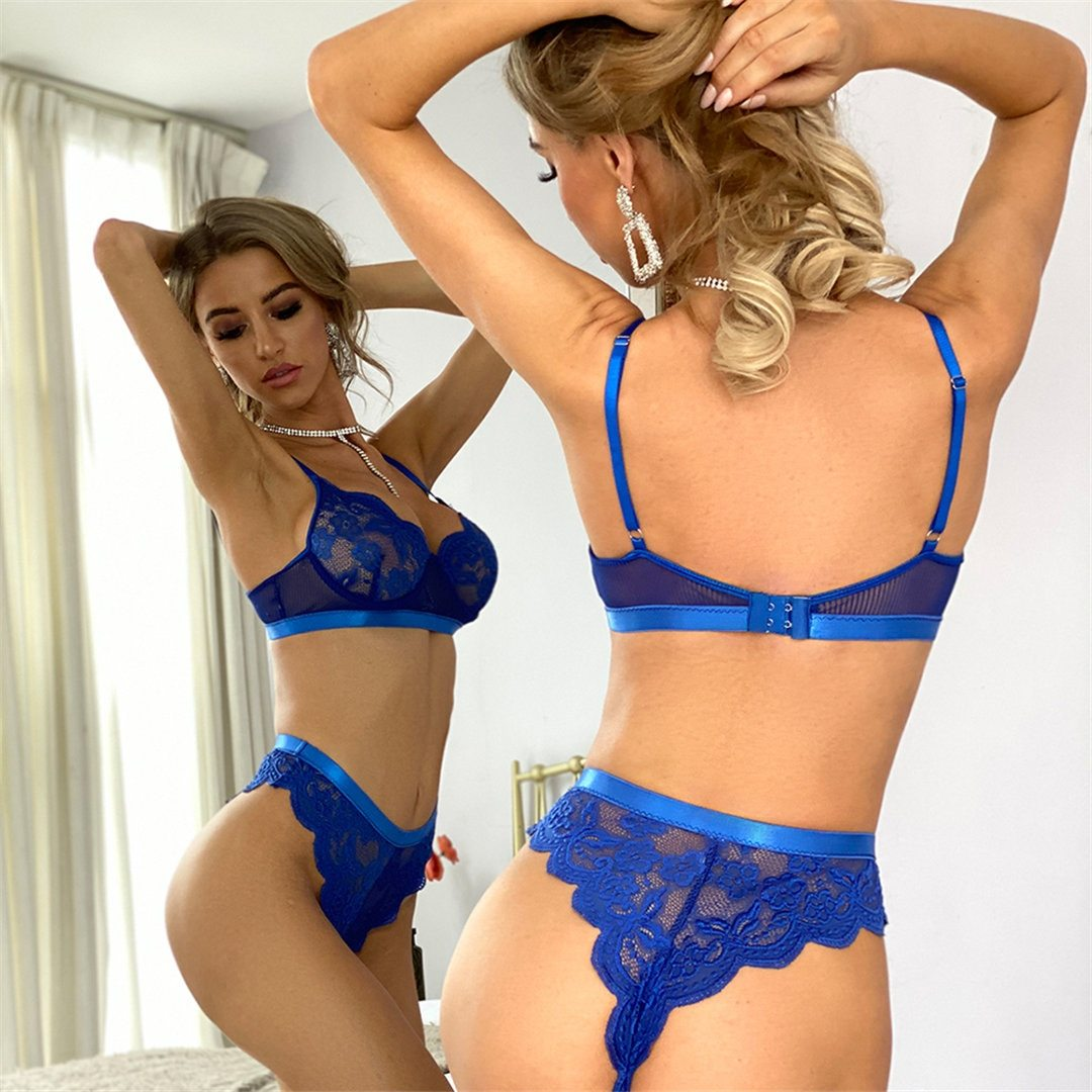 Sexy Blue Lace Lingerie Set