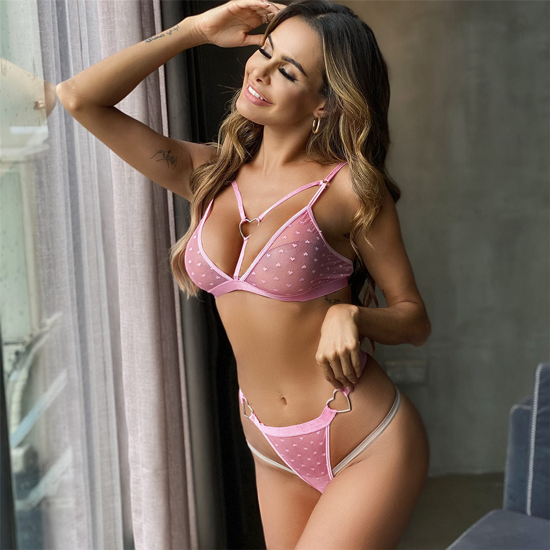 Pink Heart Lingerie Set