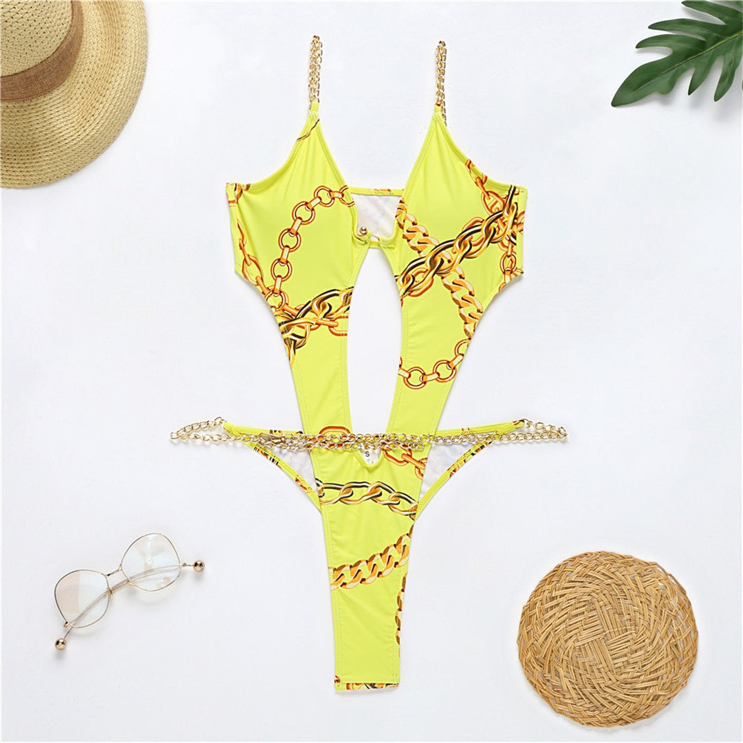 Yellow Chain Cut Out One Piece Swimsuit