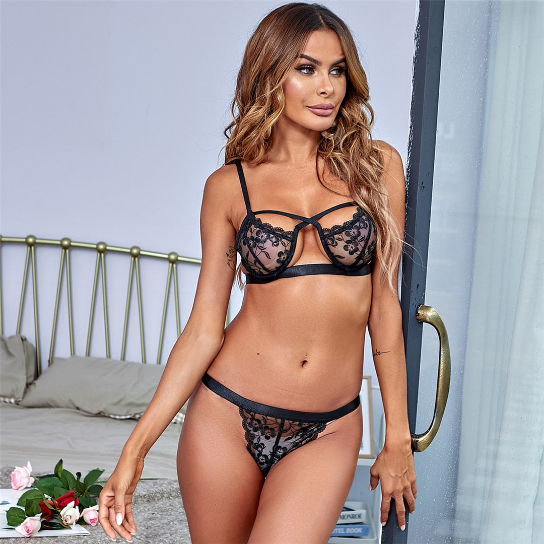 Black Floral Lace Lingerie Set