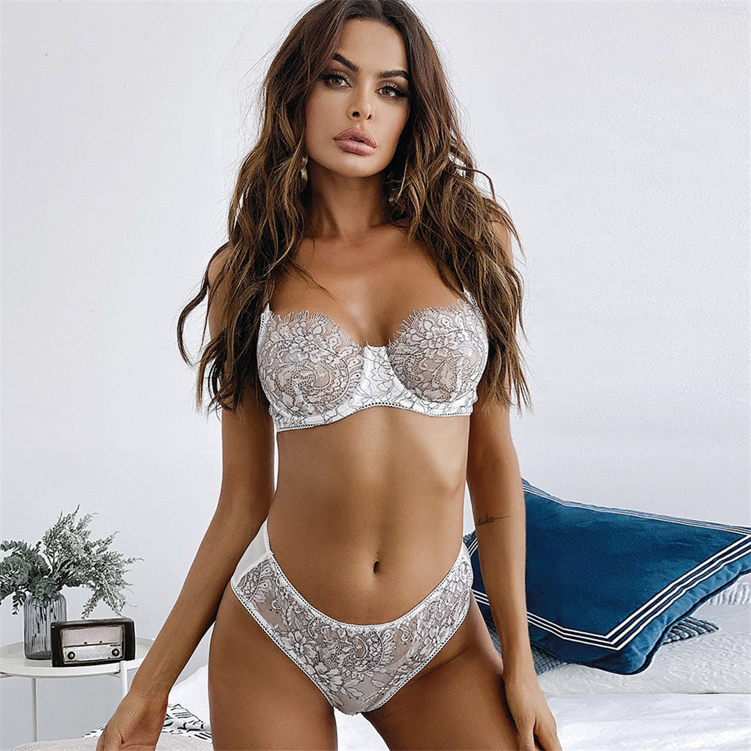 Sexy Lingerie Floral Embroidery Underwear Set See Through Lingerie Set Including Wire Push up Bra Erotic Lingerie Set