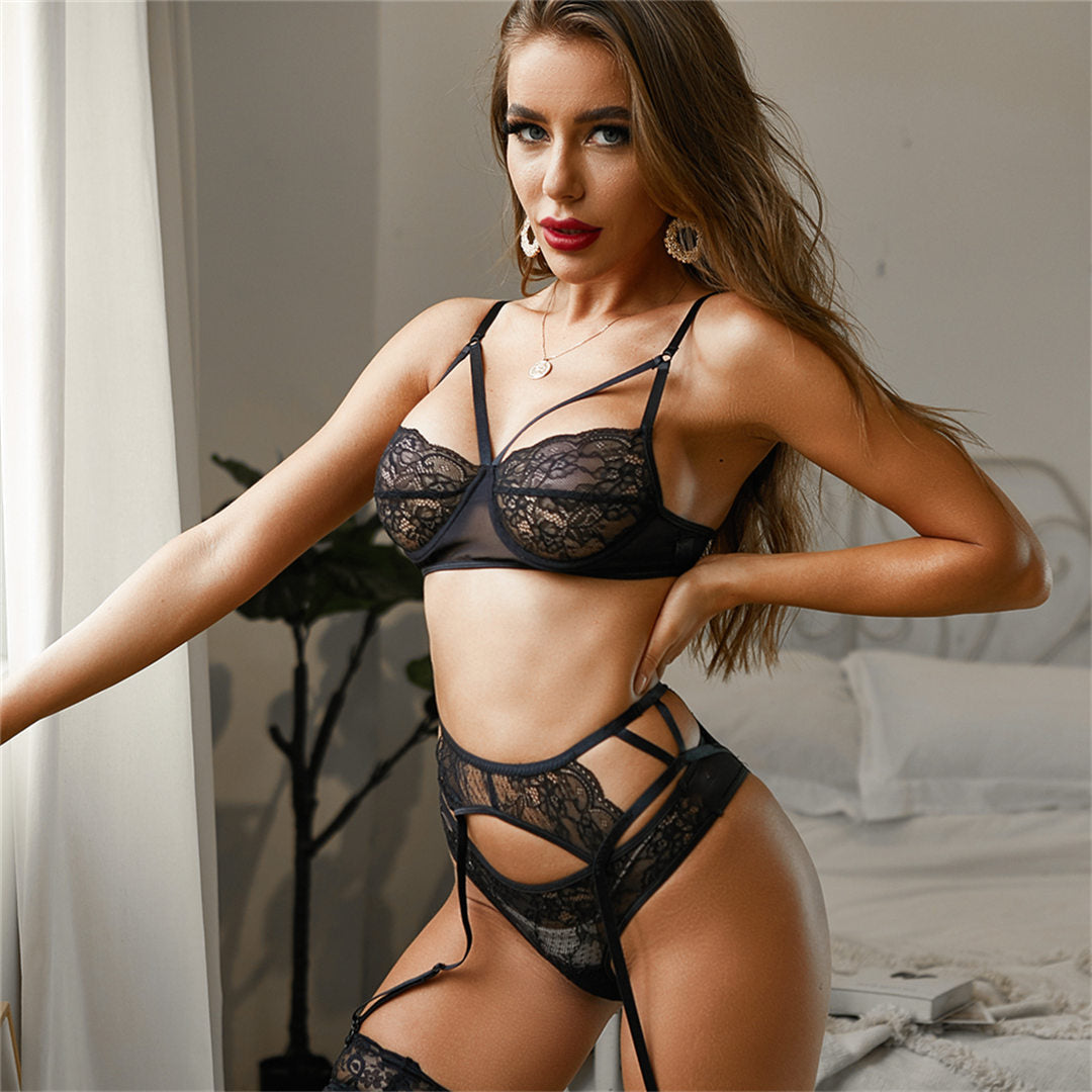 Black Lingerie Lace 3 Piece Set