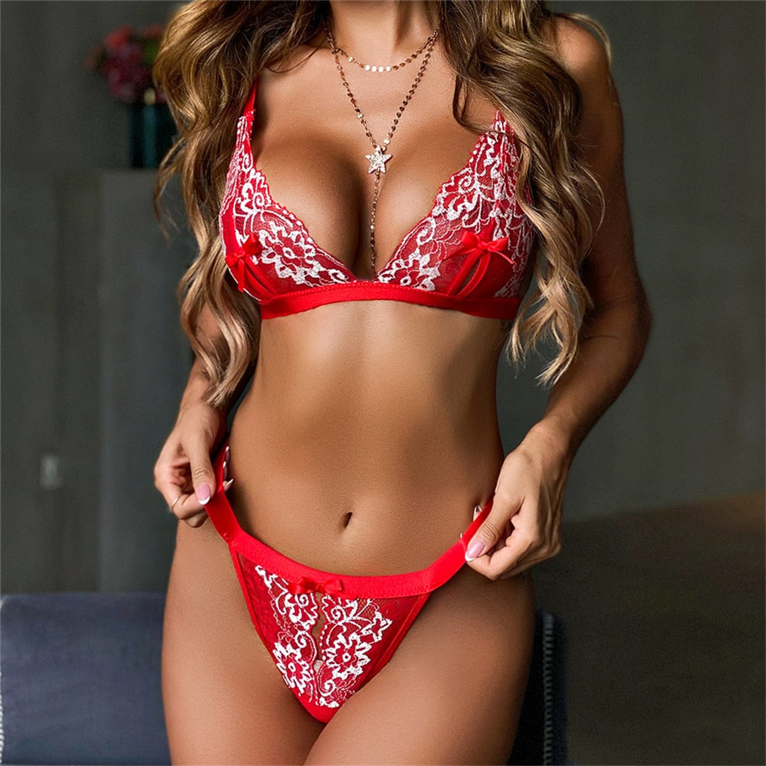 Red Lace Lingerie Set Embroidery Bra Set See Through Underwear Set Women Bralette and Thong Sexy Erotic Lingerie Set