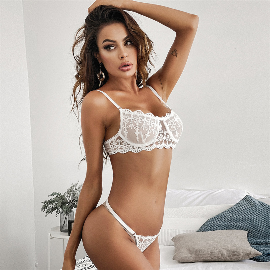 White Embroidery Lingerie Bra Set Women's Underwear Set White Bra and Party Set Underwire Female Half Cup Bra Lingerie Set