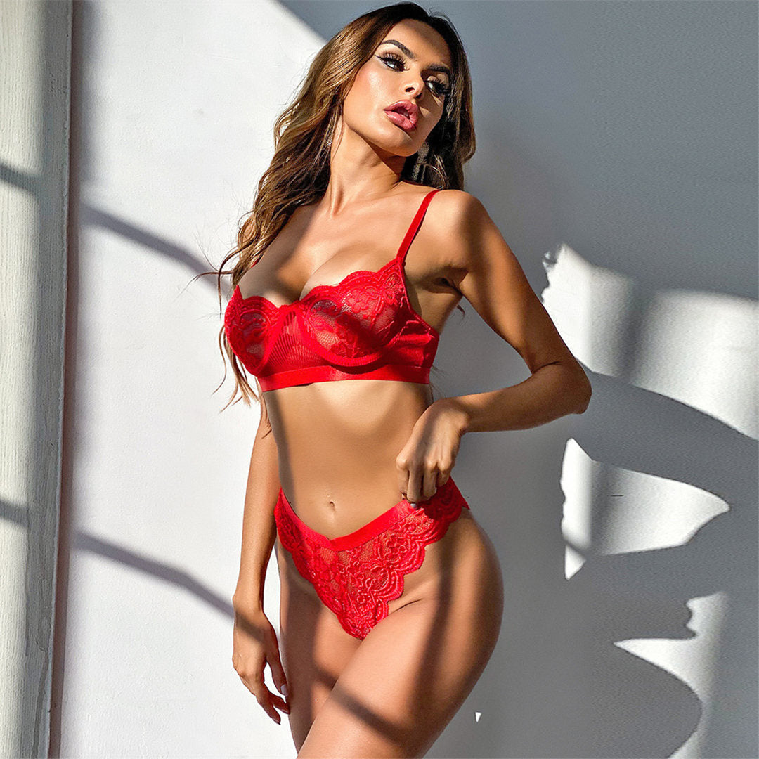 Red Lace Lingerie Bra and Underwear Set
