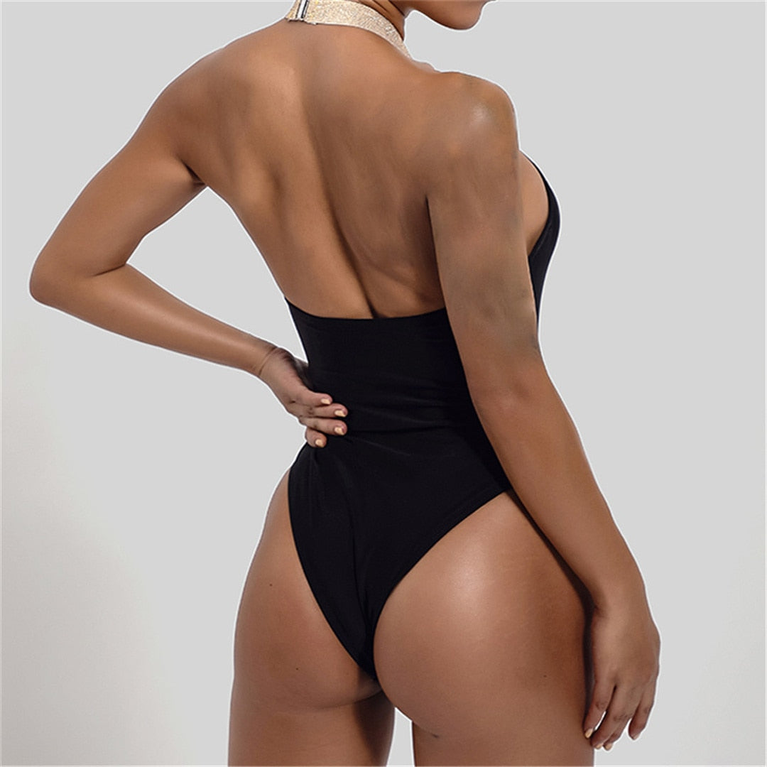 Black New Backless Tummy Cut Out Women Swimwear One Piece Swimsuit Female Bather High Neck Bathing Suit Swim Lady Monokini