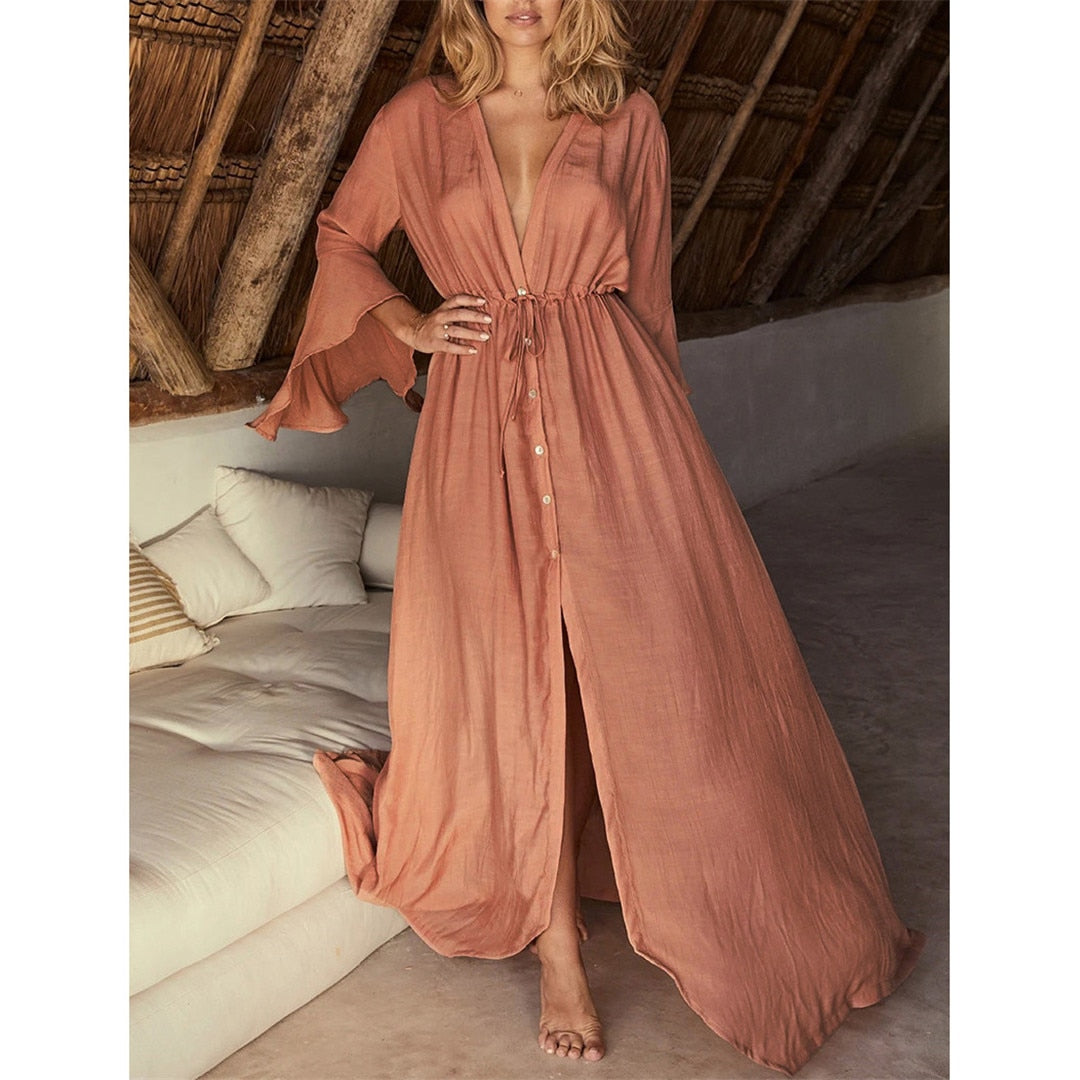 Coral Beach Long Maxi Dress Women Beach Cover Up Tunic Pareo White V Neck Dress Robe Swimwear Cover Up Bikini Beachwear