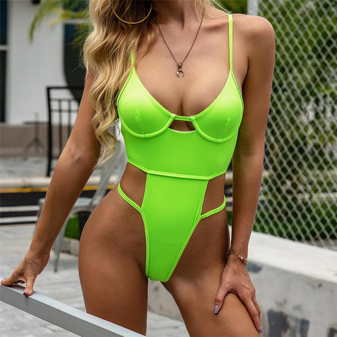 Neon Green New Sexy High Leg Cut Women Swimwear One Piece Swimsuit Female Bather Push Up Bathing Suit Swim Wear Lady Monokini