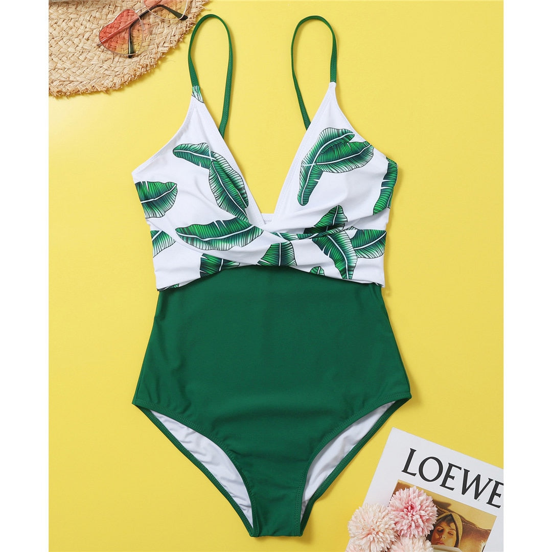 Leaf One Piece Swimsuit - S-2XL