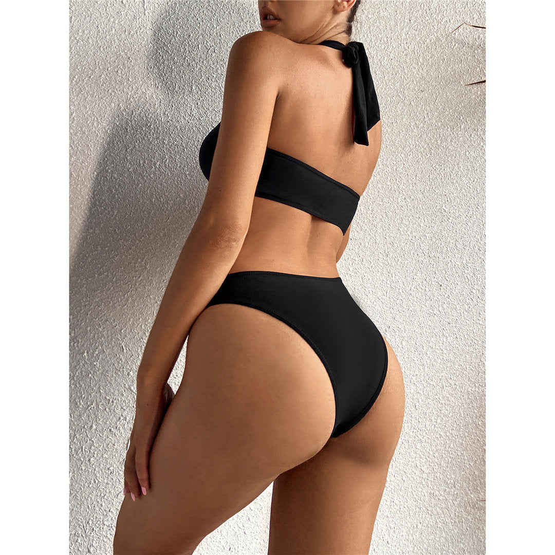 Black Sexy Halter Asymmetric One Shoulder One Piece Swimsuit Women Swimwear Female Bather Bathing Suit Swim Lady Monokini