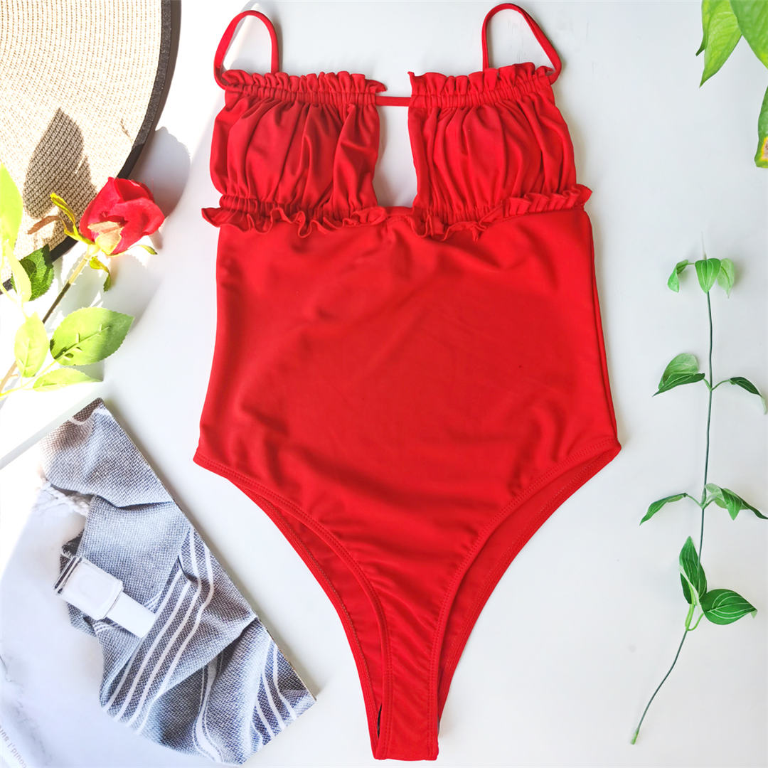 Red Backless Monokini One Piece Swimsuit