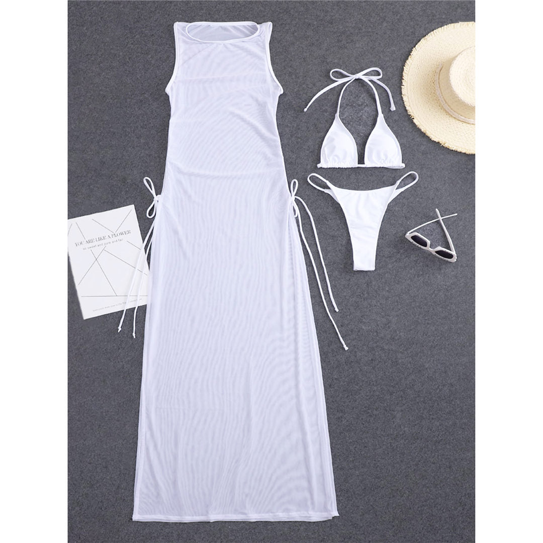 White Halter Bikini Female Swimsuit Women Swimwear Three-pieces Bikini set With Dress High Leg Cut Bather Bathing Suit Swim Lady