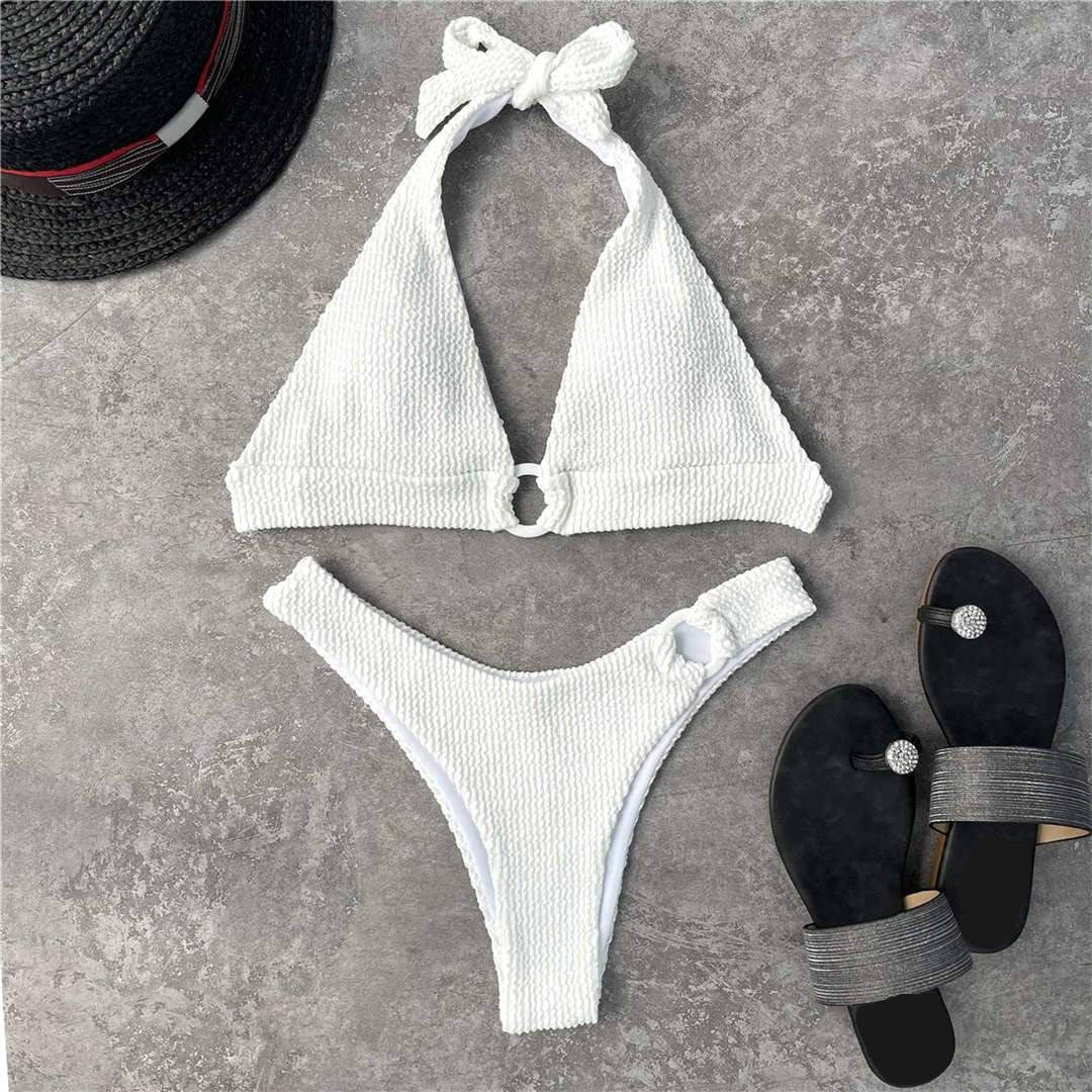 White Halter Wrinkled Bikini Women Swimwear Female Swimsuit Two-pieces Bikini set Mid Waist Brazilian Bather Bathing Suit Swim