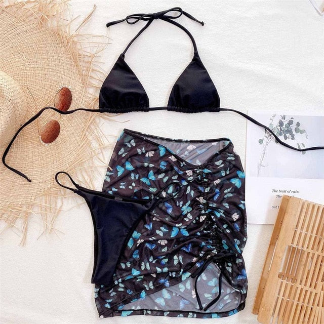Black Sexy Butterfly Print Bikini Women Swimwear Female Swimsuit Three-pieces Bikini set +Skirt Halter Bather Bathing Suit Swim