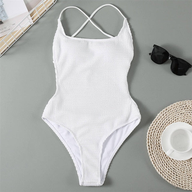 White Backless High Leg Cut Women Swimwear One Piece Swimsuit Female Ribbed Padded Bather Bathing Suit Swim Lady