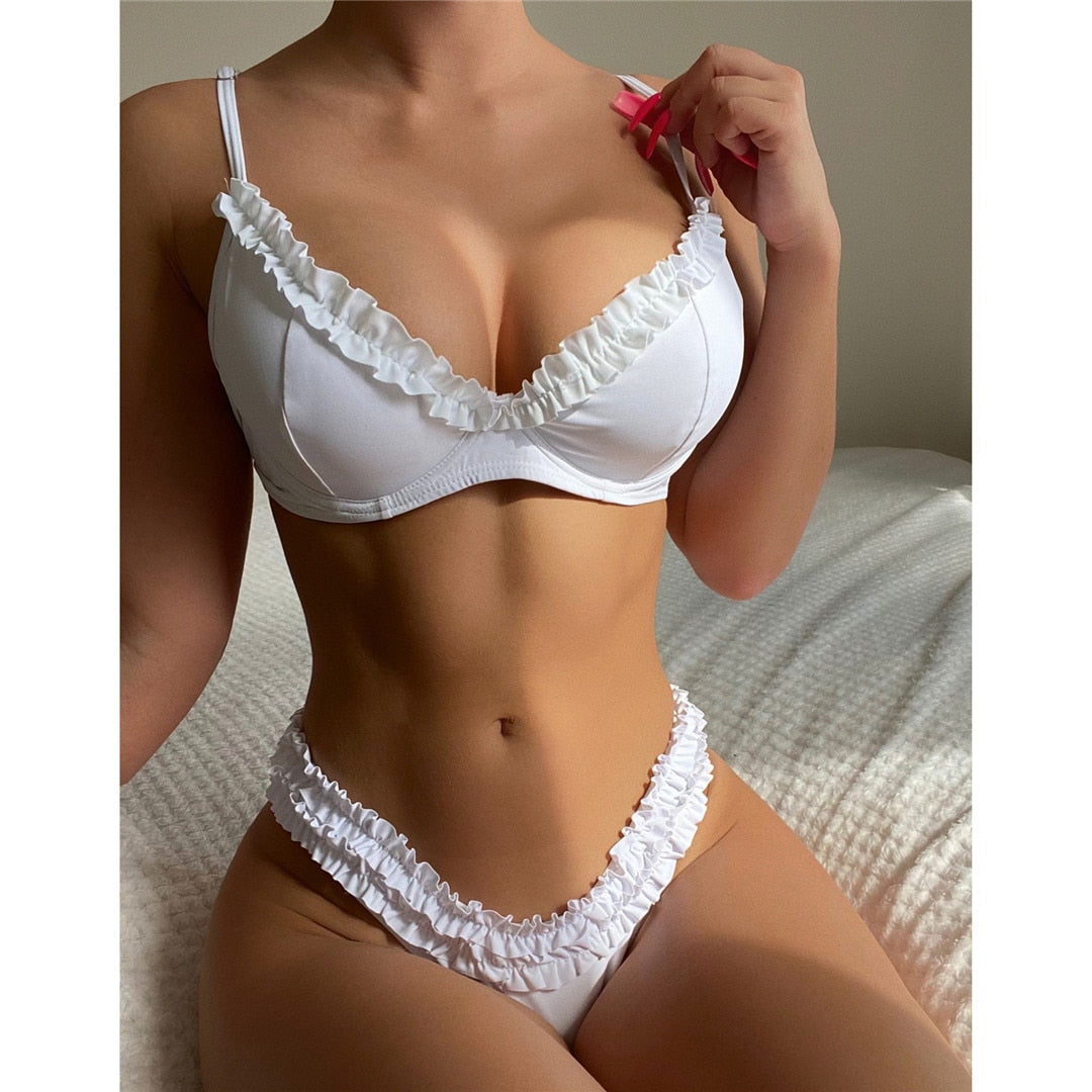 White New Ruffled Frilled Underwire Bra Cup Bikini Women Swimwear Female Swimsuit Two-pieces Bikini set Bather Bathing Suit Swim